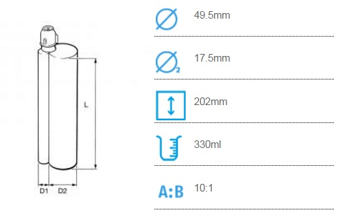 CBM 330 Соотношение смешивания (10:1) (300ml + 30ml)