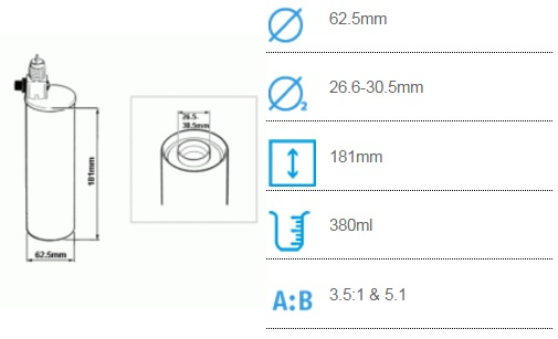 Черный клапан. Соотношение смешивания 3.5:1 - 5:1 Co-axial